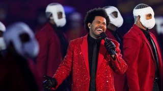 The Weeknd performs during the halftime show of the NFL Super Bowl 55 football game between the Kansas City Chiefs and Tampa Bay Buccaneers, Sunday, Feb. 7, 2021, in Tampa, Florida.