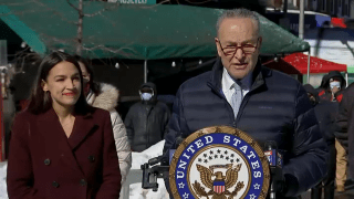 Senator Chuck Schumer and Rep. Alexandria Ocasio-Cortez were in Queens on Monday to announce funeral benefits for families of low-income New Yorkers who have died from COVID
