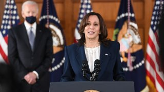In this March 19, 2021, file photo, Vice President Kamala Harris speaks as US President Joe Biden looks on during a listening session with Georgia Asian American and Pacific Islander community leaders at Emory University in Atlanta, Georgia.