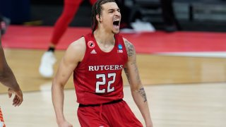 Rutgers guard Caleb McConnell (22) reacts to a basket against Clemson during the second half of a men's college basketball game in the first round of the NCAA