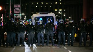 New York City police stand in line