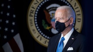 In this March 10, 2021, file photo, President Joe Biden wears a protective mask during an event in the Eisenhower Executive Office Building in Washington, D.C.