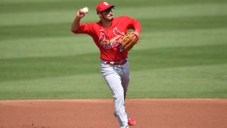 JUPITER, FLORIDA - MARCH 02: Nolan Arenado #28 of the St. Louis Cardinals in action against the Miami Marlins in a spring training game at Roger Dean Chevrolet Stadium on March 02, 2021 in Jupiter, Florida.