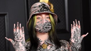 Billie Eilish arrives for the 2021 Grammy Awards.