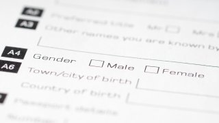 Male and female check boxes on form