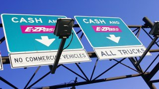 Cash and EZ Pass toll road in New Jersey