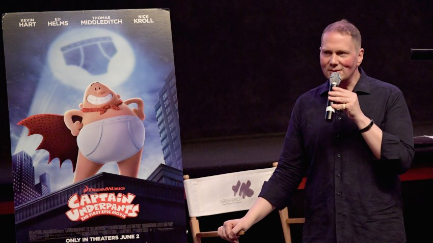 In this June 1, 2017, file photo, Author Dav Pilkey speaks to moviegoers after the screening of Captain Underpants during Greenwich International Film Festival, Day 1 in Greenwich, Connecticut.