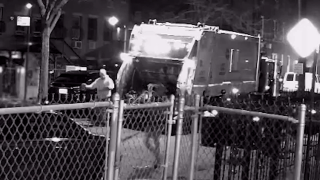 Surveillance video captured an apparent violent attack in Brooklyn early Wednesday morning against a city sanitation crew.