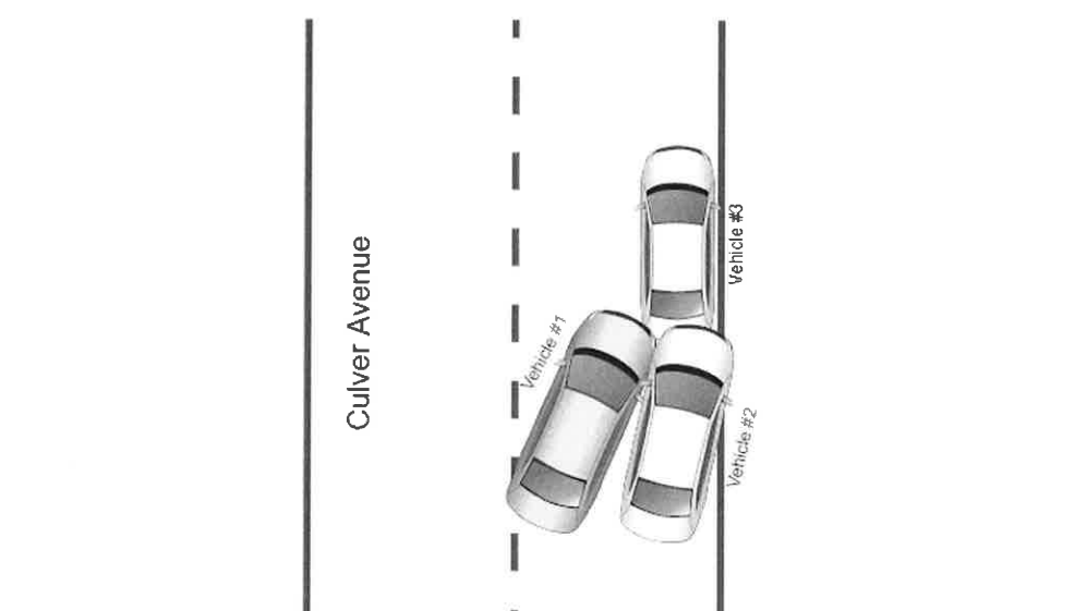 Diagram sketch of crash allegedly involving Jersey City State Senator Sandra Cunningham