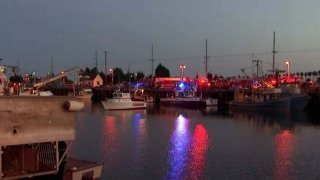Dive teams and investigators at the Port of Los Angeles in San Pedro.