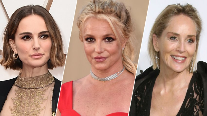 From left: Natalie Portman, Britney Spears and Sharon Stone.