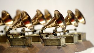 various Grammy Awards are displayed at the Grammy Museum Experience