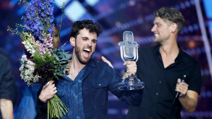 Duncan Laurence of the Netherlands celebrates after winning the 2019 Eurovision Song Contest grand finale in Tel Aviv, Israel