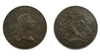 """The front and back piece of copper that was struck by the U.S. Mint in Philadelphia in 1794 was a prototype for the fledgling nation's money. The item, which is known as the """"No Stars Flowing Hair Dollar,"""" is owned by businessman and Texas Rangers co-chairman Bob Simpson and will go up for auction at Heritage Auctions in Dallas on Friday, April 23, 2021."""