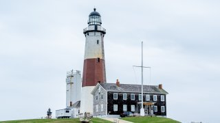 A view of the Montauk Point Lighthouse on April 01, 2021 in Montauk, New York