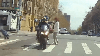 A robbery in the middle of the day in a New York City crosswalk was caught on camera