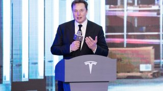 Tesla CEO Elon Musk speaks at a delivery ceremony for Tesla China-made Model 3 in Shanghai, east China, Jan. 7, 2020.