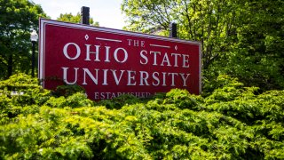 This May 8, 2019, file photo, shows a sign for Ohio State University in Columbus, Ohio.