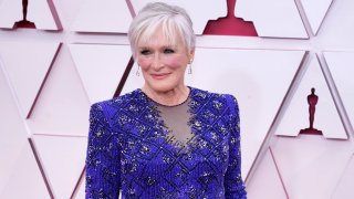 Glenn Close arrives at the Oscars on Sunday, April 25, 2021, at Union Station in Los Angeles.