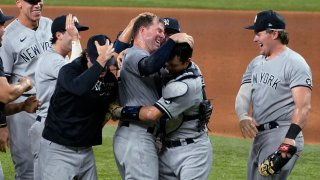 Yankees celebrate after Corey Kluber's no-hitter