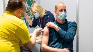 Britain's Prince William receives his coronavirus vaccine
