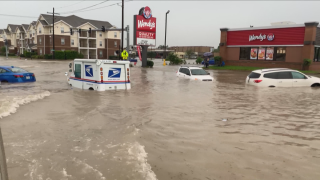 Scenes of flooding in Lake Charles, Louisiana, on May 17, 2021.