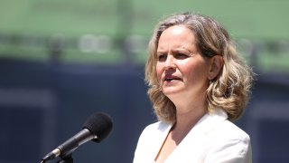 Nassau County Executive Laura Curran speaks at a construction site on May 27, 2020 in Uniondale, New York