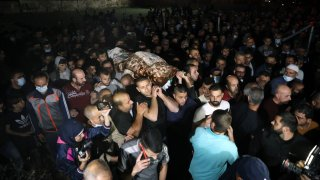 A funeral ceremony of Palestinian woman Rihab Haroub, who was killed by Israeli forces, held in Bethlehem, West Bank on May 7, 2021.