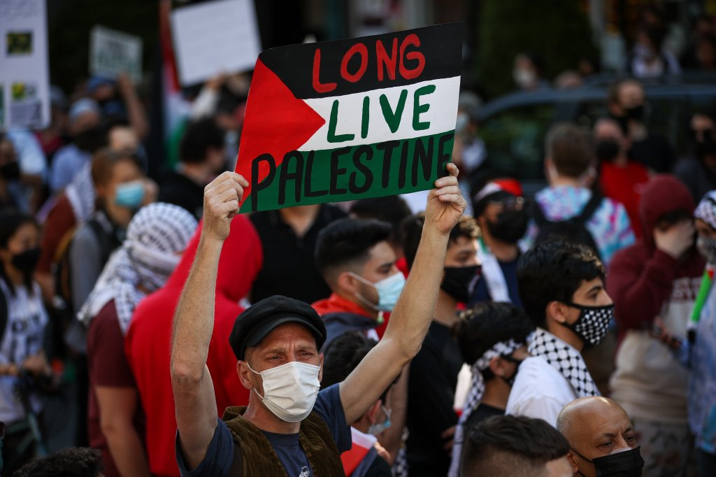 People gather in Brooklyn to demonstrate in support of Palestinians in New York City, United States on May 15, 2021