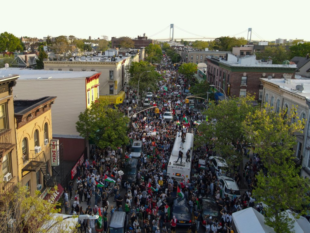 An aerial view of mass crowds taking streets in Brooklyn to demonstrate in support of Palestinians in New York City, United States on May 15, 2021
