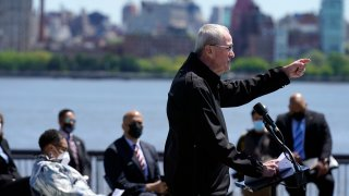 New Jersey Gov. Phil Murphy speaks during a news conference in Hoboken, New Jersey, Thursday, May 6, 2021. More than eight years after Superstorm Sandy overwhelmed the New York City area, Hoboken is breaking ground on a flood resiliency project that is part of a $230 million plan funded by the U.S. Department of Housing and Urban Development.
