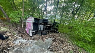 Ice cream truck crashed into woods