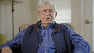 102-year-old Army veteran Bill Swetow participates in a public service announcement for a campaign to vaccinate against COVID-19