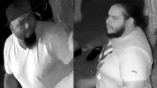 Police released surveillance images of two men wanted for sending a man to the hospital over a parking space.