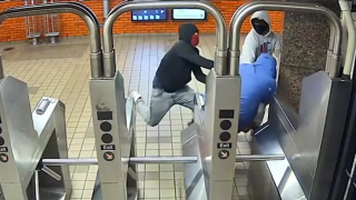Police said video captured a pair of suspects attack a 64-year-old man at a subway turnstile.