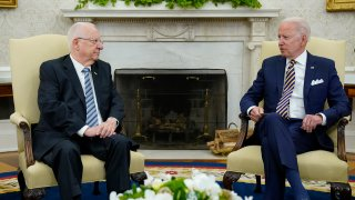 President Joe Biden meets with Israeli President Reuven Rivlin in the Oval Office of the White House in Washington, Monday, June 28, 2021.