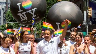 Andrew Cuomo with his daughters Michaela Cuomo, Mariah Cuomo and Cara Cuomo are seen at the World Pride NYC on June 30, 2019 in New York City