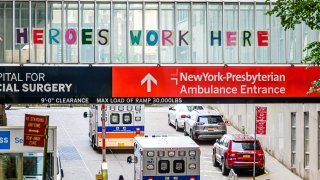 A view of the NewYork-Presbyterian Hospital ambulance entrance during the coronavirus pandemic on May 18, 2020 in New York City