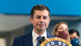 Secretary of Transportation Pete Buttigieg speaks at press conference with Senator Charles Schumer to green light Gateway Tunnel Project at Amtrak Concourse of Penn Station.