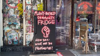 A plant-based fridge outside of Overthrow Boxing Club