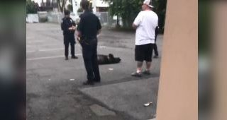 Police stand around dead bear