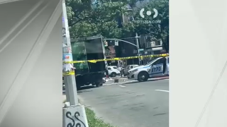 Two motorists were transported from the scene of a crash in Brooklyn after colliding with a truck, according to police.