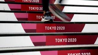 Tokyo 2020 logo on steps
