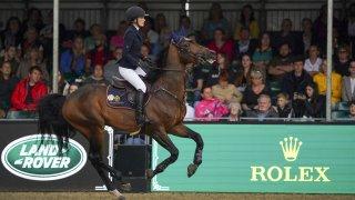 Jessica Springsteen riding Don Juan van de Donkhoeve competes in the Rolex Grand Prix at the Royal Windsor Horse Show, Windsor on Sunday July 4, 2021.