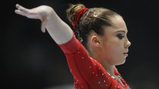 US gymnast McKayla Maroney competes on uneven bars during the 44th Artistic Gymnastics World Championships in Antwerp on October 2, 2013.