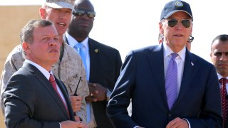 In this file photo, Jordan's King Abdullah II (L) and US vice president Joe Biden (R) attend a military demonstration at a Joint Training Center outside the city of Zarqa, northeast of the capital Amman, on March 10, 2016.