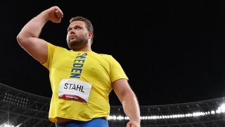 Sweden's Daniel Stahl reacts while competing in the men's discus throw final during the Tokyo 2020 Olympic Games