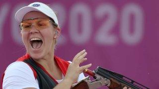 Maddie Brenau celebrates medal