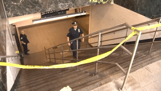 Police investigate a violent assault after two people were thrown down stairs at the Canal Street Station.