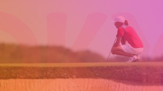 A golfer competes at the Olympics.